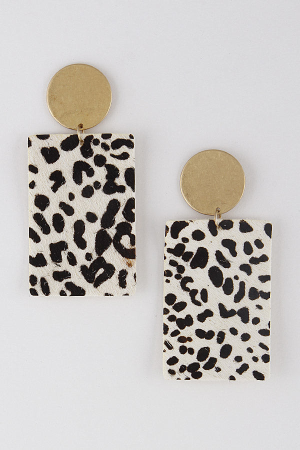 Love Me Animal Print Earrings - White