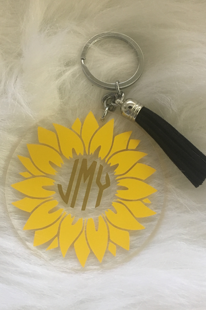 Monogram Sunflower Keychain - Amor Black Boutique