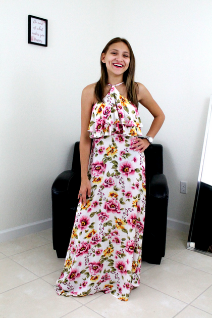 Love Grows Floral Halter Maxi Dress - Ivory - Amor Black Boutique