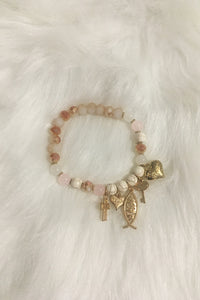 Jesus Pieces Bracelet - White - Amor Black Boutique
