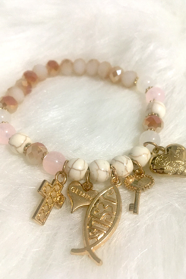 Jesus Pieces Bracelet - White