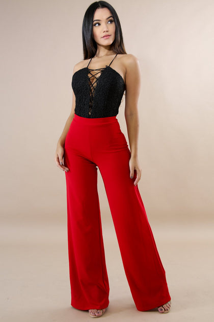 By Your Side Palazzo Pants - Red - Amor Black Boutique