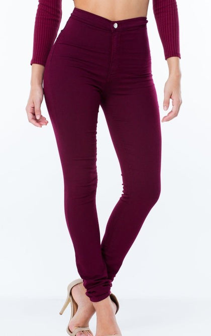 Got Them Saying Wow Jeans - Burgundy - Amor Black Boutique