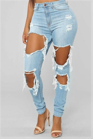 Drama Jeans - Light Blue - Amor Black Boutique
