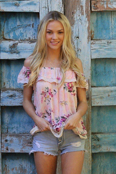 Loves A Funny Thing Floral Top - Blush - Fashion Top