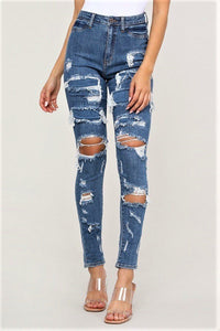 Over You Destroyed Skinny Jeans (Medium Blue) - Amor Black Boutique