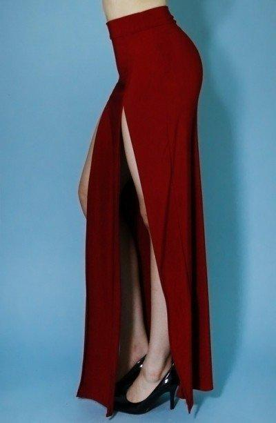 McSlay Maxi Skirt - Burgundy - Amor Black Boutique