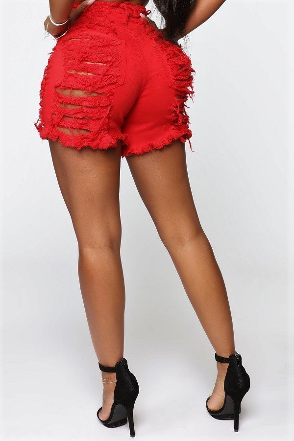 Farah Distressed Shorts - Red