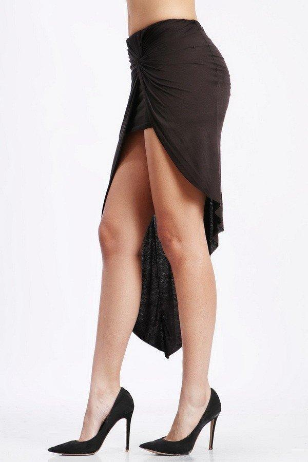 Chanelle Wrap Front Skirt - Black