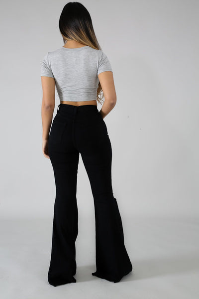 Prfect Fit Bell Bottom Jeans - Black - Amor Black Boutique