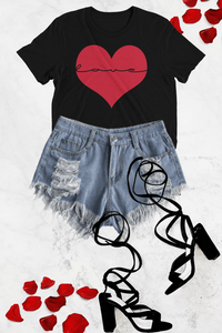 Love Inside My Heart Graphic Tee - Black - Graphic Top