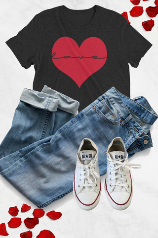 Love Inside My Heart Graphic Tee - Charcoal Black - Graphic Top