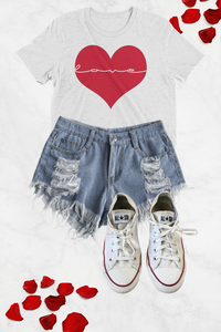 Love Inside My Heart Graphic Tee - White - Graphic Top