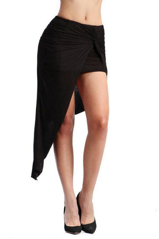 Chanelle Wrap Front Skirt - Black - Amor Black Boutique