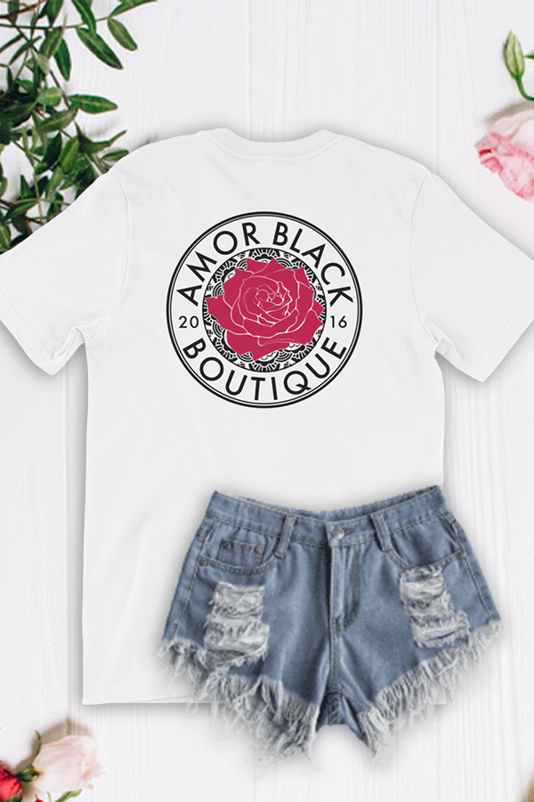 Mandala Logo Tee - White - Amor Black Boutique