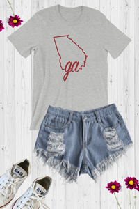 GA State Line Graphic Tee - Grey