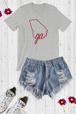 GA State Line Graphic Tee - Grey - Amor Black Boutique