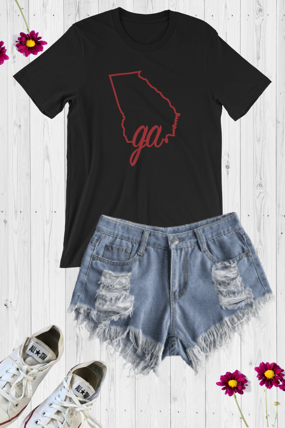 GA State Line Graphic Tee - Black