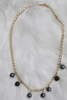 Gold Pearl Chain Necklace - Gray