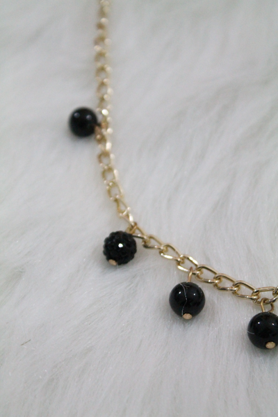 Gold Pearl Chain Necklace - Black