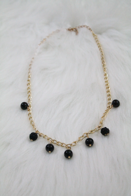 Gold Pearl Chain Necklace - Black - Amor Black Boutique