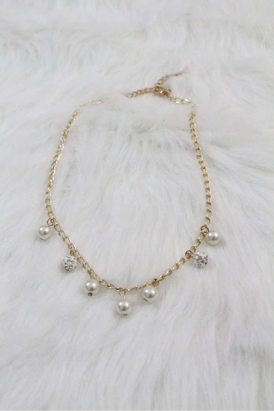 Gold Pearl Chain Necklace - White - Amor Black Boutique