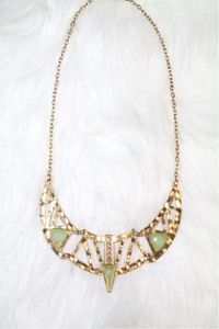 Cleopatra Rhinestone Necklace - Green