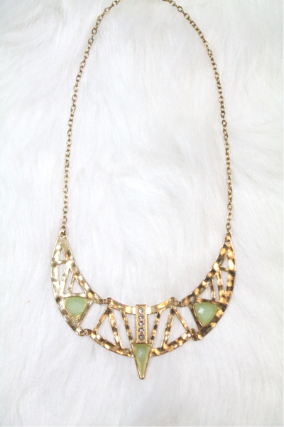 Cleopatra Rhinestone Necklace - Green - Amor Black Boutique