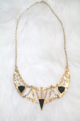 Cleopatra Rhinestone Necklace - Black