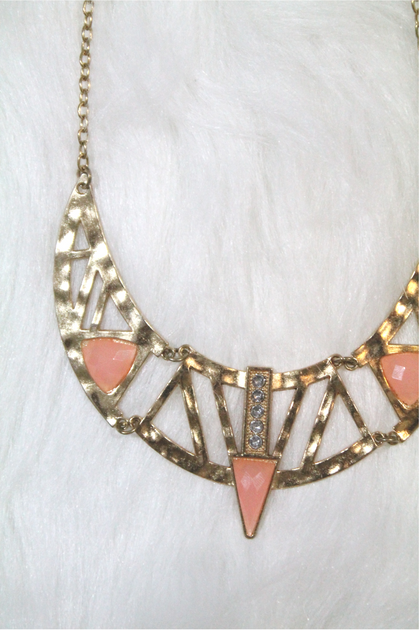 Cleopatra Rhinestone Necklace - Light Pink - Amor Black Boutique