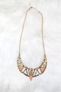 Cleopatra Rhinestone Necklace - Light Pink