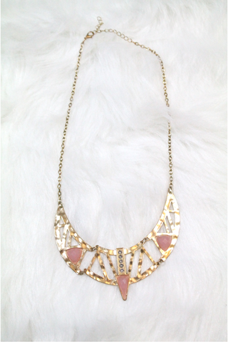 Cleopatra Rhinestone Necklace - Pink - Amor Black Boutique