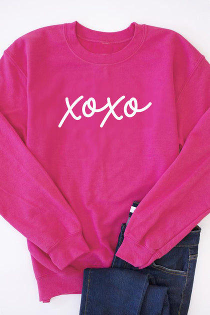 XOXO Script Graphic Sweatshirt - Hot Pink - Amor Black Boutique