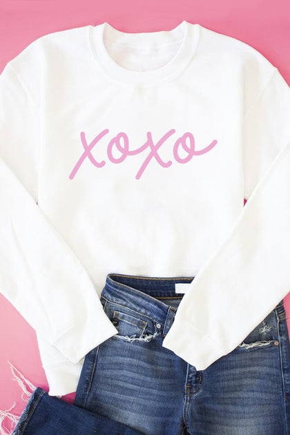 XOXO Script Graphic Sweatshirt - White - Amor Black Boutique