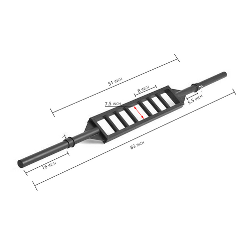 Black Steel Swiss Bar Straight - Dimensions