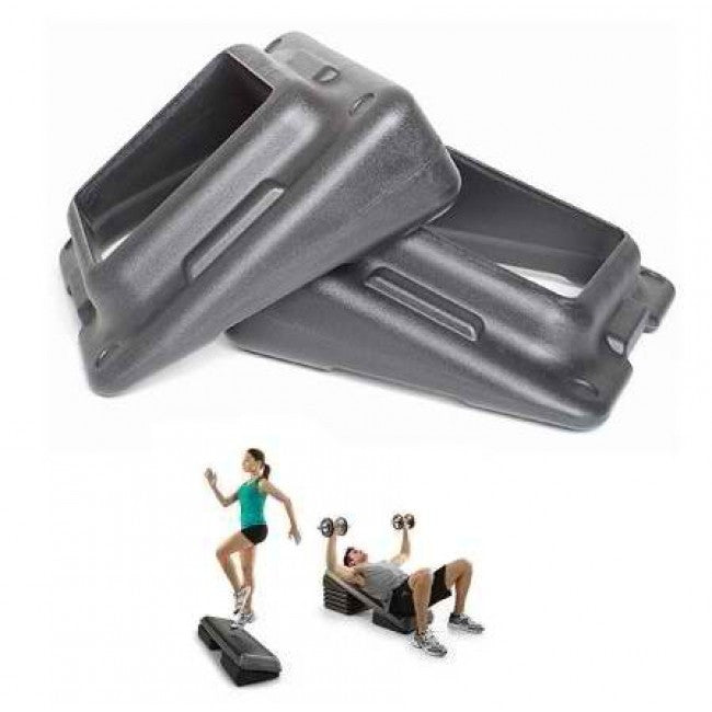 Slanted Step Risers for Aerobic Step (Black) - 2 Pack