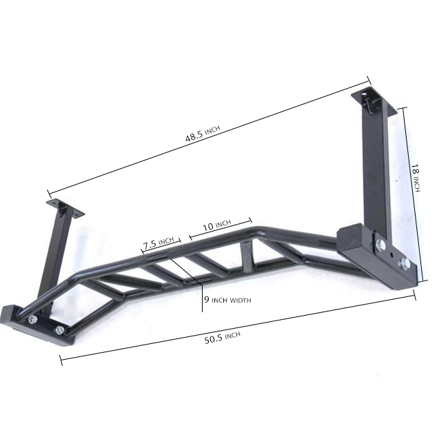 Ceiling Mounted Multi-Grip Chin Up Bar - Dimensions