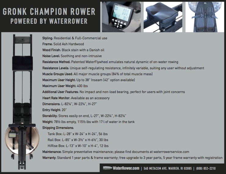 Gronk Champion WaterRower - Specs