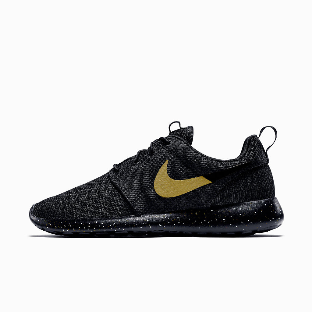pretty nice 5a358 bac7a Nike Roshe Run Custom Black with Gold speckles, Men and Women sizes av –  CustomSneakZ