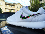 Custom Womens Nike Roshe Run sneakers, Floral design, lilac flower, mauve color, trendy fashion design, cute womens shoes, limited stock!