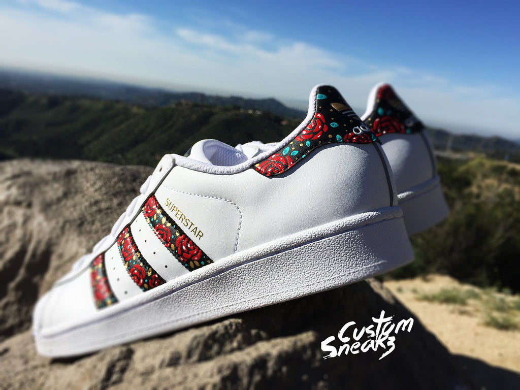 Hand Painted Floral Adidas Superstars | Shoes | Chaussure