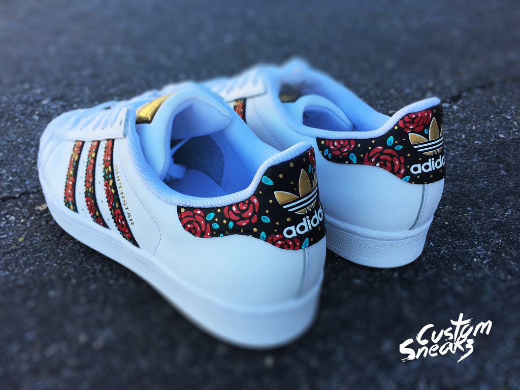 4cabf620e Custom Adidas Superstar for men and women, Adidas custom Hand Painted  floral design, Unisex