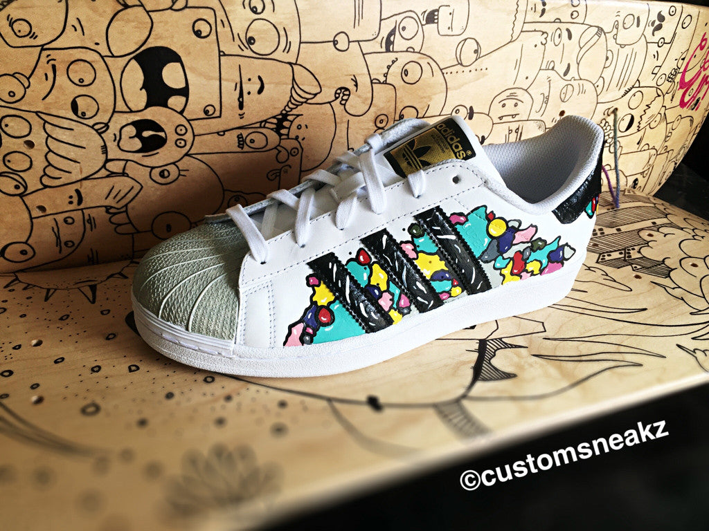 Custom Adidas Superstar for men and women, Adidas custom Hand Painted colorful, Unisex sizes, Adidas superstar, Original