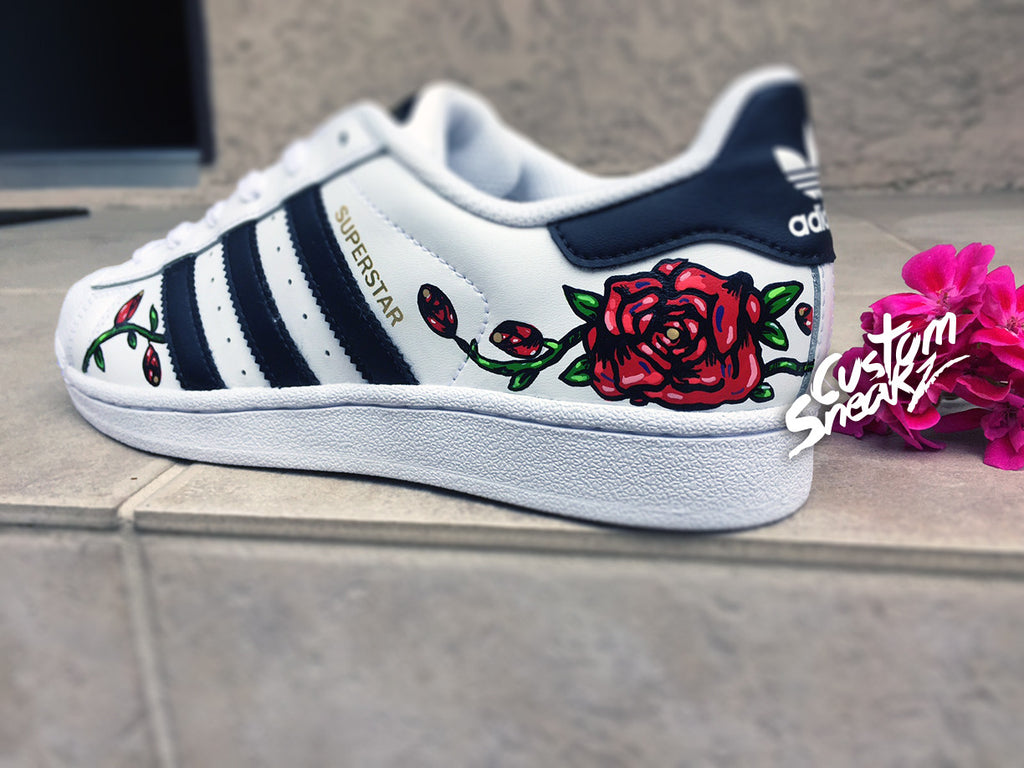 Custom Adidas Superstar for men and women, Adidas custom Hand Painted floral design, Rose