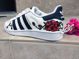 Custom Adidas Superstar for men and women, Adidas custom Hand Painted floral design, Rose design, Unisex sizes, Adidas superstar, Original