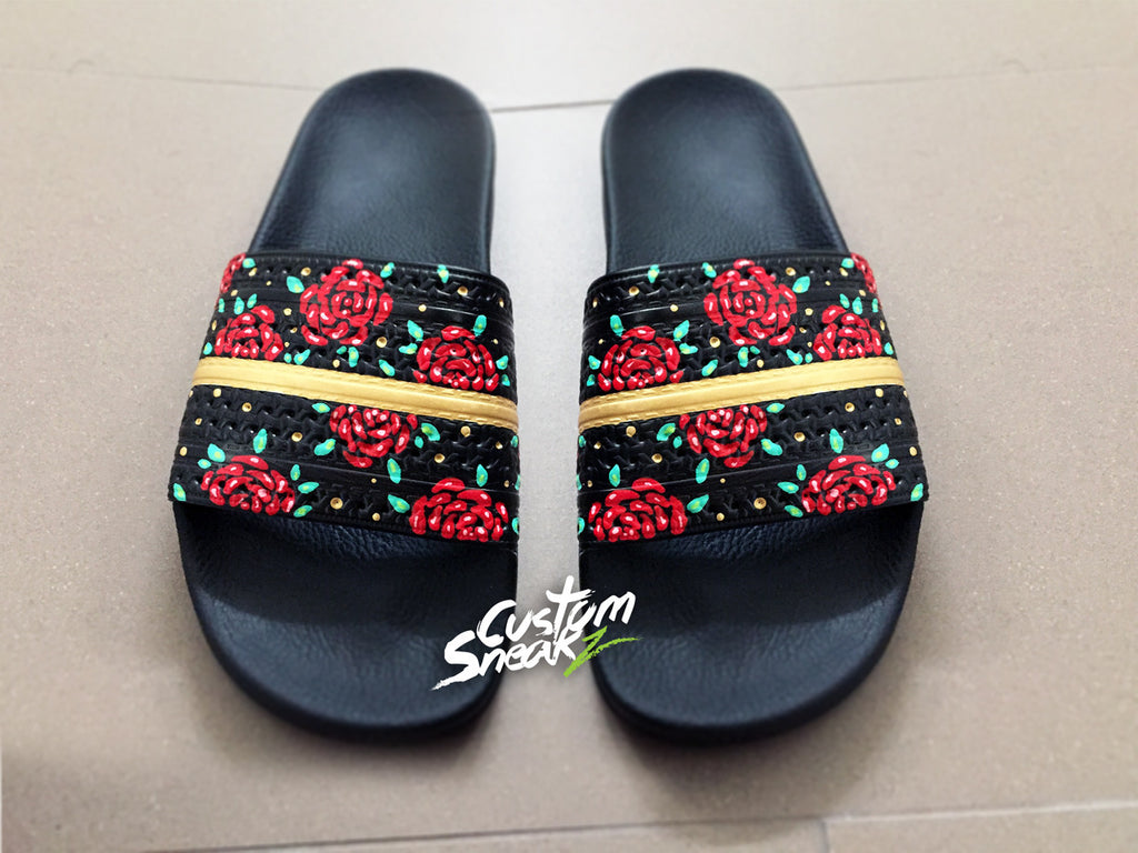 Womens Adidas Adilette Sandals, Custom Adidas Sliders, Floral, Roses