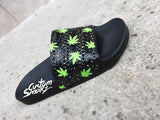 Mens and Womens Custom Adidas Adilette Sandals, Custom Adidas Sliders, Custom Cannabis Design, 420 design,