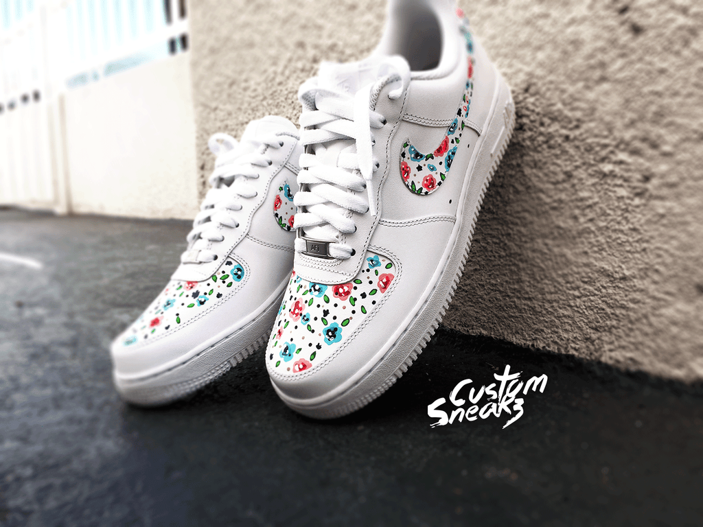 Copy of Nike Air Force 1 customs, AF1 custom, Air force Ones, All white floral design Nike custom, cute and trendy design