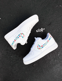 Nike Air Force 1 customs, AF1 custom, Air force Ones, All white floral design Nike custom, cute and trendy design