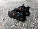 Custom Nike Roshe, Womens Nike Roshe custom, black on black with design, all black roshe runs, limited stock!